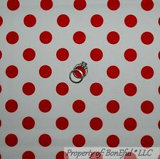 BonEful FABRIC Cotton Quilt White Red Polka Dot S Disney Minnie Mouse Girl SCRAP