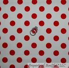 BonEful FABRIC Cotton Quilt White Red Polka Dot Disney Minnie Mouse Xmas 1 SCRAP