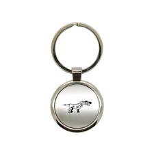 Porte clé en métal alu brossé Chien de chasse 2 rond gravure laser