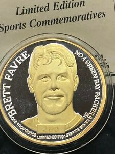 Brett Favre NFL Player .999 Silver Coin 24KT Gold Overlay EnviroMint & COA
