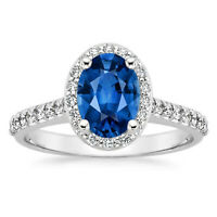 1.95 Ct Oval Cut Sapphire 14K White Gold Natural Diamond Wedding Ring Size 8 6