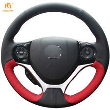Black Red Genuine Leather Steering Wheel Cover for Honda Civic 9 2012-2015 #BT67