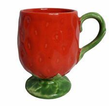 "Strawberry Shaped Mug Vintage Mold Pottery Mug 4 1/4"" 1220"