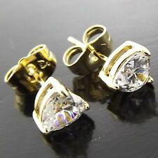 FS961 GENUINE 18K YELLOW GF GOLD SOLID TRILLIANT DIAMOND SIMULATED STUD EARRINGS