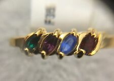 Personalized 14K yellow gold birthstone stone mother's ring