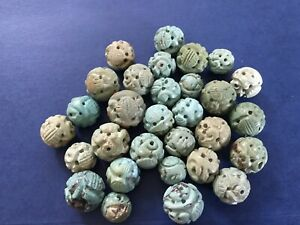 Lot of 30 Vintage Carved Turquoise Beads