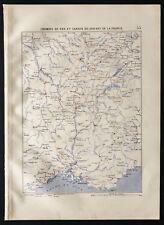1880 - Carte ancienne des chemins de fer et canaux du Sud Est