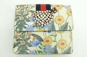 NEW Authentic Gucci Totem Flora Crystal Heart Sylvie Stripe GP White Clutch Bag