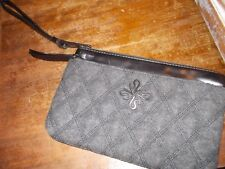 Simply Vera Wang 2 ZIP MULTI POCKET Wristlet WALLET Black Clutch W/WOOL FRONT