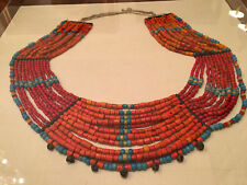 An Excellent Large Antique Tibetan Coral and Turquoise Necklace in Shadow Box.