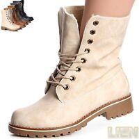 Damen Worker Boots Stiefeletten Stiefel Booties Schnürboots Schnürschuhe Futter