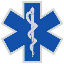 "Star of Life, Decal, EMS, Reflective 2.5"" Wide, Blue  #EM60"