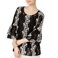 ALFANI NEW Women's Black Bell-sleeve Floral Lace Blouse Shirt Top TEDO