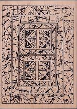 "stylized sticks magenta Wood Mounted Rubber Stamp 5 1/2 x 7 1/2""  Free Shipping"