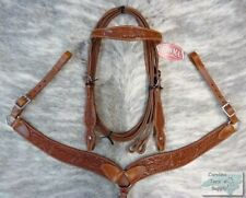 Showman Acorn Tooled Leather Bridle, Breast Collar & Reins Set!! NEW HORSE TACK!