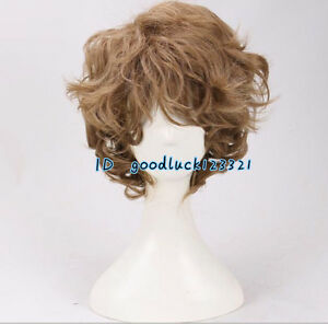 Men's Short curly brown Hobbit Baggins cosplay wig + a wig cap