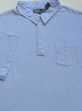 New Polo Ralph Lauren Blue Cotton Mesh Polo Shirt with Chest Pocket / 3XLT