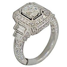 2.19ct EMERALD Cut Prong Channel Set Wedding Engagement Ring in 14K White Gold