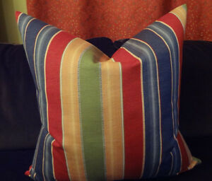 SALE Decorative Pillow Cover Stripes Patterns Red, Blue and Green