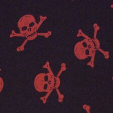 Black Polyester with Red Skull & Crossbones Fabric (Per Metre)