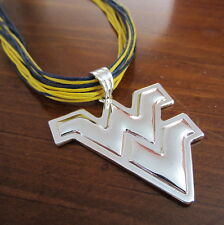 WVU West Virginia University LARGE PENDANT CORD NECKLACE Mountaineers Jewelry