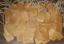 100 XSMALL PRIMITIVE COFFEE STAINED HANDMADE HANG TAGS rustic CRAFTS PRICE LOT