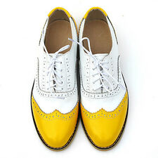 Fulinken Leather Ladies Lace up Shoes Women Oxford Flats Wing Tip Brogue Shoes