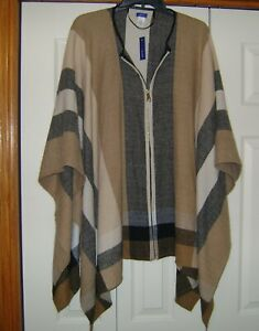 Women's PLAID PONCHO CAPE SHAWL!  One Size NWT!  Lovely!  FREE Shipping!