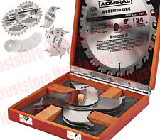 """8"""" 24T Carbide Tipped Woodworking Stacked Dado Saw Blade Flat Bottom Cut"""
