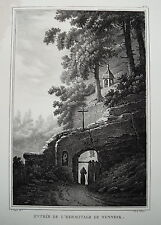 Magdalenenklause bei Düdingen Nunneck Schweiz echte alte Lithographie 1825