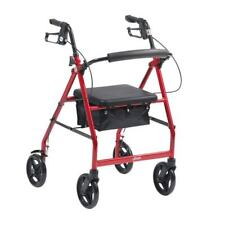 "Drive Red Folding Rollator with Seat 6"" Wheels Walker Walking Frame Mobility Aid"