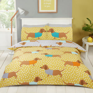 Dolly Dachshund Sausage Dog Reversible Duvet Quilt Cover Bedding Set in 3 Sizes