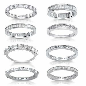 Princess Baguette Brilliant Simulated Diamond Sterling Silver Eternity Ring