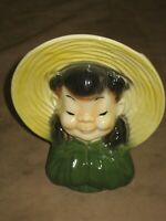 Royal Copley Wall Pocket Oriental Girl Planter Vase Head Vase Vintage Crazing