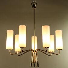 Alter Decken Leuchter Stab Pendel Hänge Lampe Messing Glas 50er Eleganz