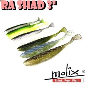 """MOLIX RA SHAD 3"""" Real Action Soft Lure Rockfish Jig Finesse Scented Salty 8pcs"""