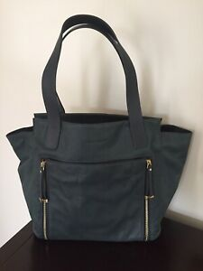 Sportscraft Trapeze Teal Leather Tote Handbag - New Without Tags