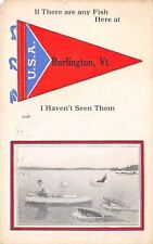 """""""Haven't Seen Any"""" in Burlington VT~Exaggerated Fish Sneak Up on Fisherman~1914"""