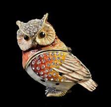 Vintage Enamel Owl Trinket Box Clear Rhinestones FREE SHIP