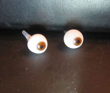 8mm hollow blown glass brown doll eyes New long shaft
