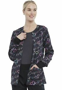 Cherokee Sweet Beats Snap Front Print Scrub Warm-Up Jacket