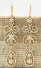 10.67 Carat Natural Diamond 14K Yellow Gold Luxury Chandelier Earrings