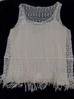 Ralph Lauren Women's Crochet Top Tank Cami 2Pc Fringe Boho Gypsy Sleeveless