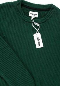 BNWT Wrangler Jeans Mens Green Pullover Crewneck Structural Knitwear  XXL 2XL