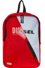 DIESEL Backpack, Red & White Canvas, Laptop Sleeve, 40 x 27 x 13 cm