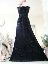 Monsoon Black Velvet sequin maxi evening dress,occasion prom size 14