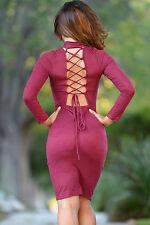 Abito aperto scollo stringhe eco pelle scamosciata Faux Suede Lace Bodycon Dress