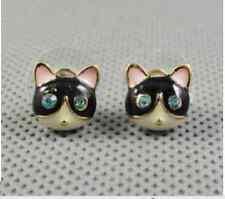 E214 Betsey Johnson Little Cute Black Cat Cute Kitten Kitty Tabby Earrings  UK