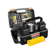 150PSI Portable Dual Cylinder Car Air Compressor Pump Tire Inflator with Light