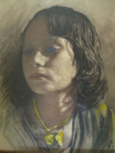 A lovely 1950s portrait of a young woman by Emilio Vila Spanish born 1887